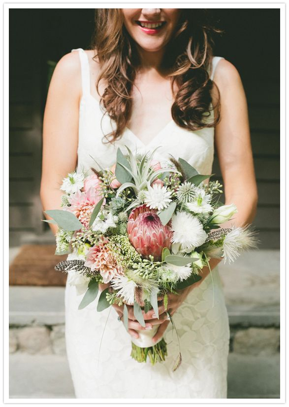 pale pink tones and green bouquet