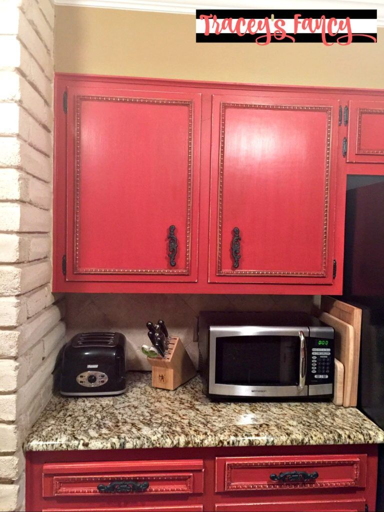 Diy Painted Red Cabinets In The Kitchen Red Cabinets Painting Kitchen Cabinets Red Kitchen Cabinets