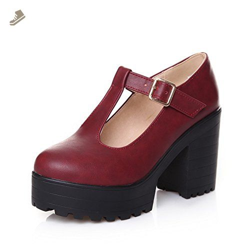 Ladies Chunky Heels Buckle Round Toe Claret Imitated Leather Boots - 9 B(M) US