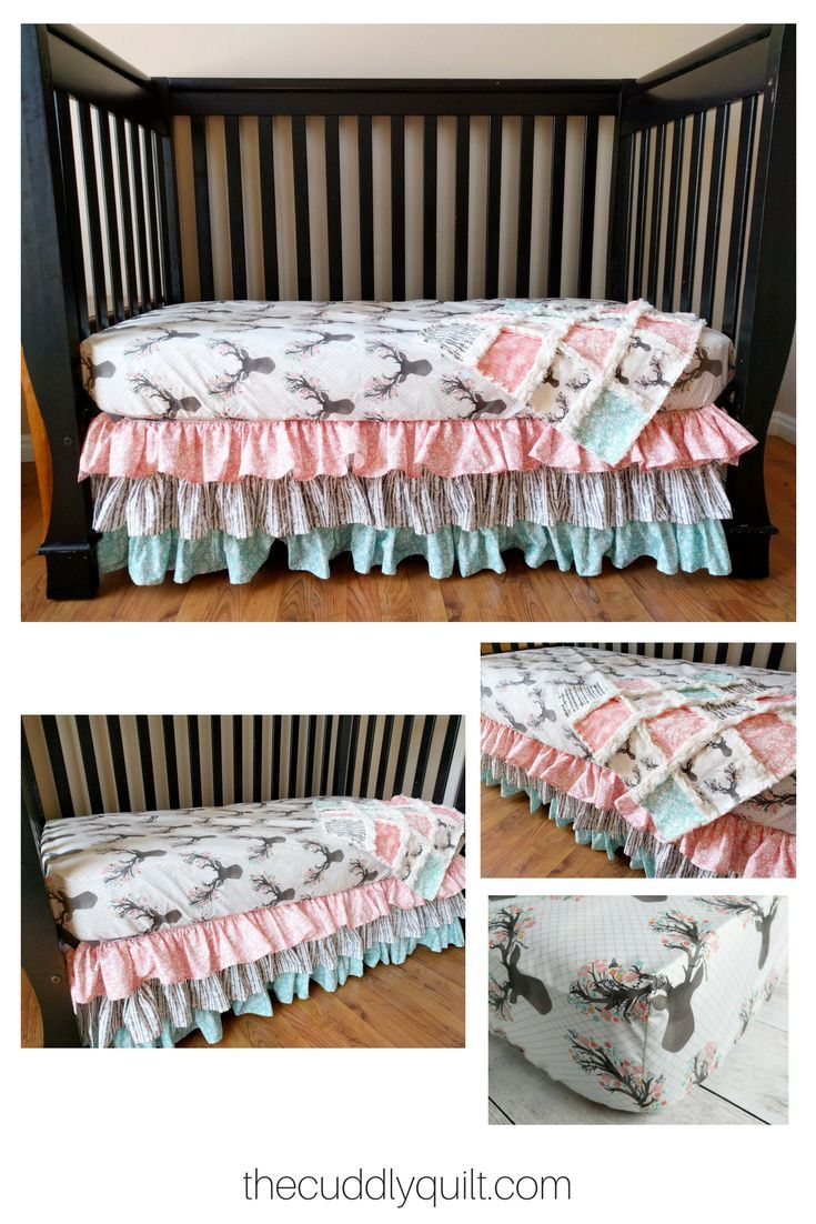 This sweet and girly crib set is perfect for your little oneus