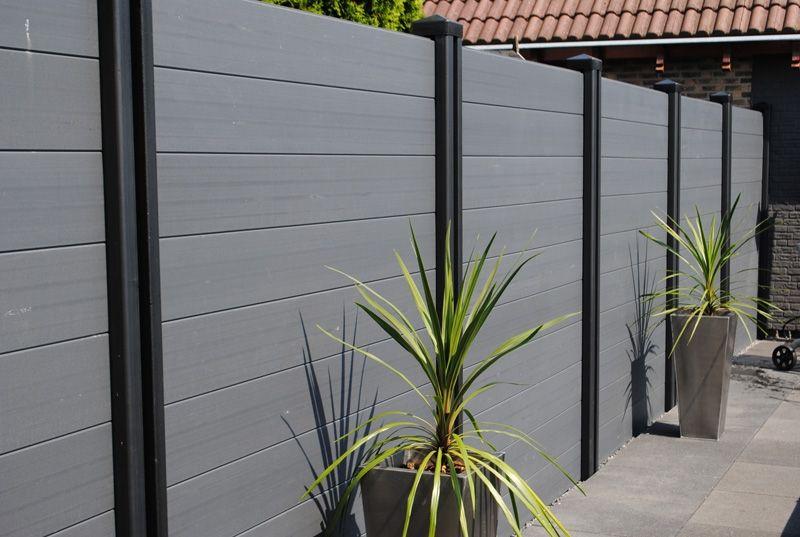 composiet kunststsof schutting grijs antraciet modern. Black Bedroom Furniture Sets. Home Design Ideas