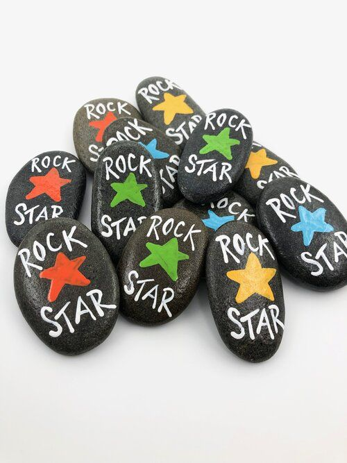Set of 12 Rock Star Painted Stones, Rock Star Party Favors, Meeting Tokens, Conference Gifts, Painted Pebbles, Colleague appreciation gifts — Alleluia Rocks