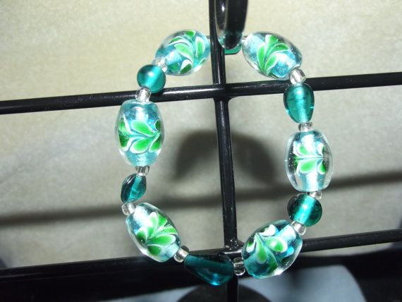 Blue & Green Leaf Bracelet by LittlebrusBracelets on Etsy, $12.00