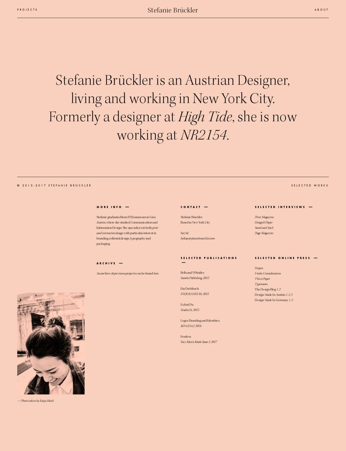 Stefanie Bruckler Portfolio About Web Design Website Inspiration Portfolio Inspiration