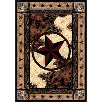 A Handsome Western Area Rug Featuring Star In Circle Cowhide Design Background And Plenty Of Eal Log Cabin Decor Ranch