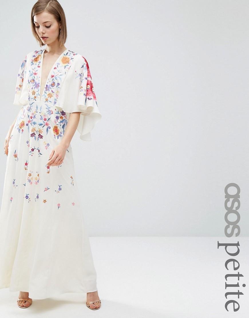 Asos petite asos petite embroidered kimono maxi dress at asos