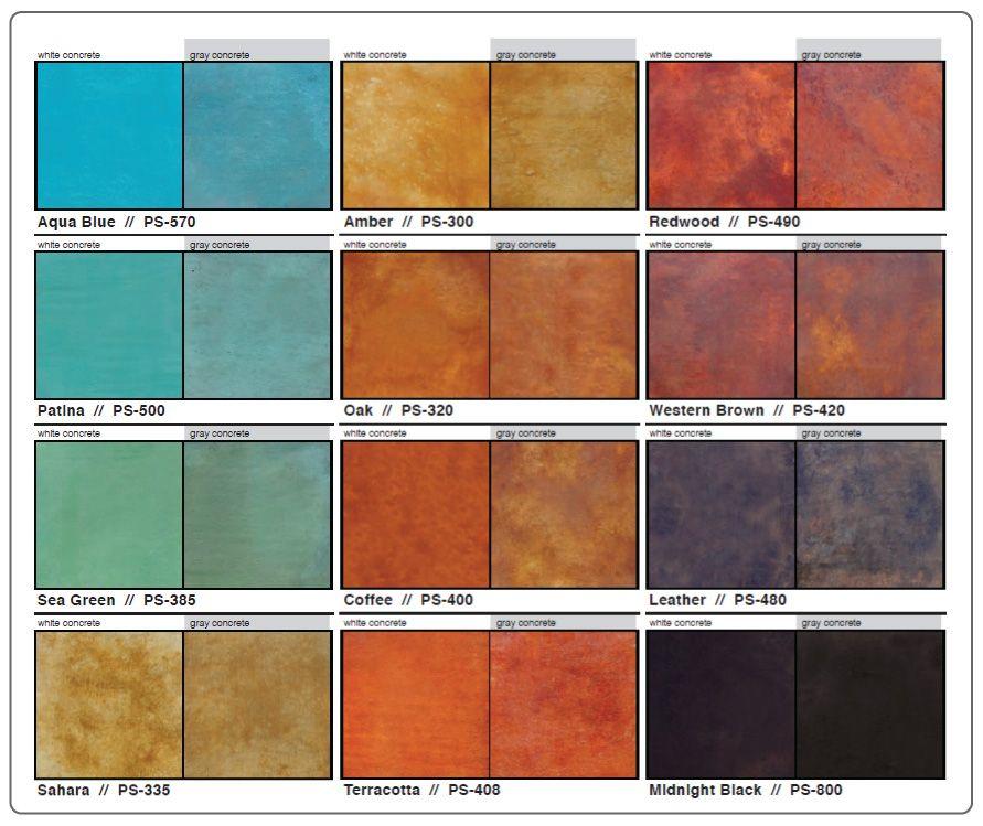 Tonos a elegir para darle color a tu concreto y darle un efecto brillante con sellador de color Piso pulido con color