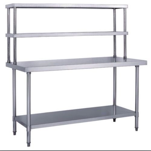 WORK TABLE FOOD PREPARATION DOUBLE OVERSHELF COMBINATION - Stainless steel prep table with shelves