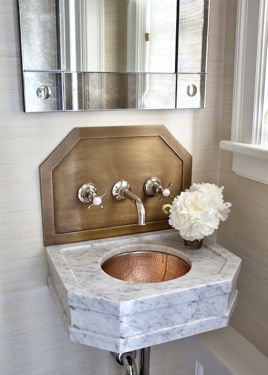 Neutral Rooms In Black White Blue And Beige South Shore Decorating Blog Small Bathroom Sinks Bathroom Sink Wall Mounted Bathroom Sinks