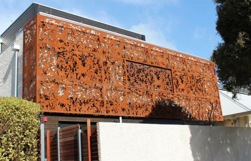 Cortenstahl Sichtschutz Balkon Idee Edelrost Haus Modern Design