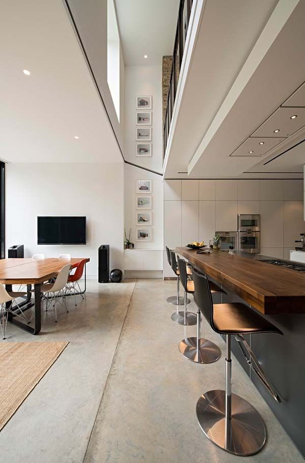 Distinctive home design for book lovers in London | Island stools ...