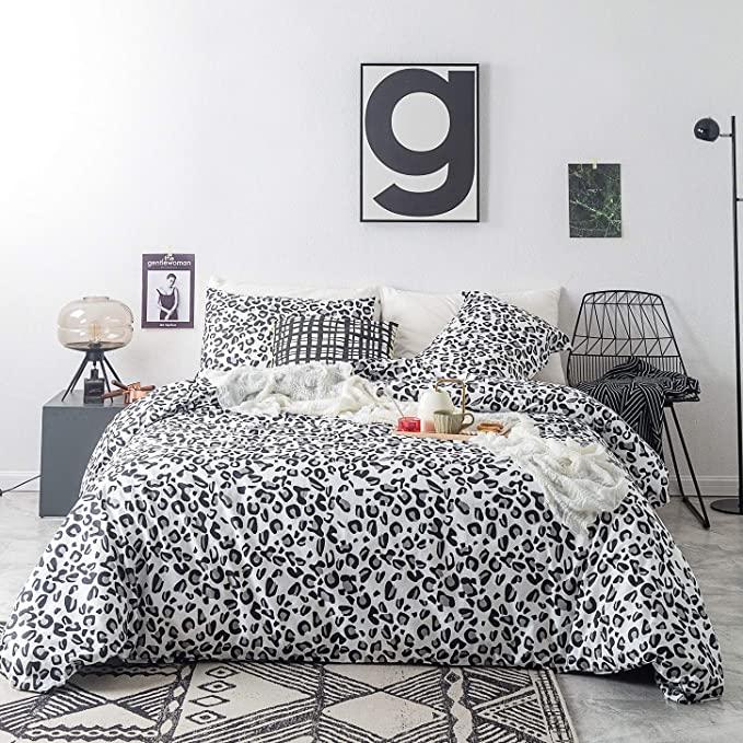 Amazon Com Susybao 3 Piece Duvet Cover Set 100 Cotton Queen Size Black And White Leopard Pattern Patterned Bedding Sets Duvet Cover Pattern Duvet Cover Sets