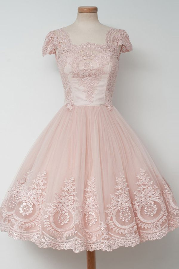 7fd6c3af627 Vintage Knee-Length A-line Pearl Pink Homecoming Dress with Lace ...