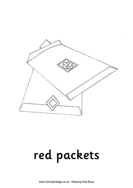 Red Packets Colouring Page New Year Coloring Pages Red Packet Chinese New Year Kids