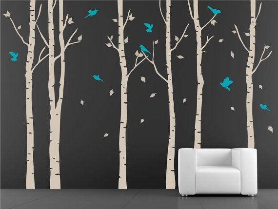 Tree with birds Wall Decal. Wall Sticker. Vinil wall decal. Birch trees. $78.00, via Etsy.