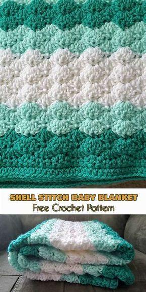 Shell Stitch Baby Blanket [Free Crochet Pattern]   Manta, Puntos ...