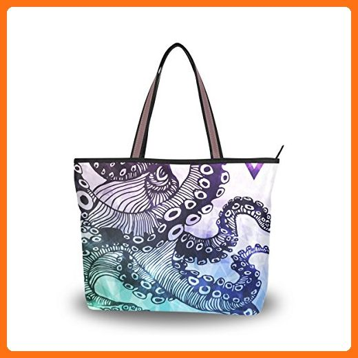 7cfe47fd6f3e JSTEL Women Large Tote Top Handle Shoulder Bags Octopus Patern ...