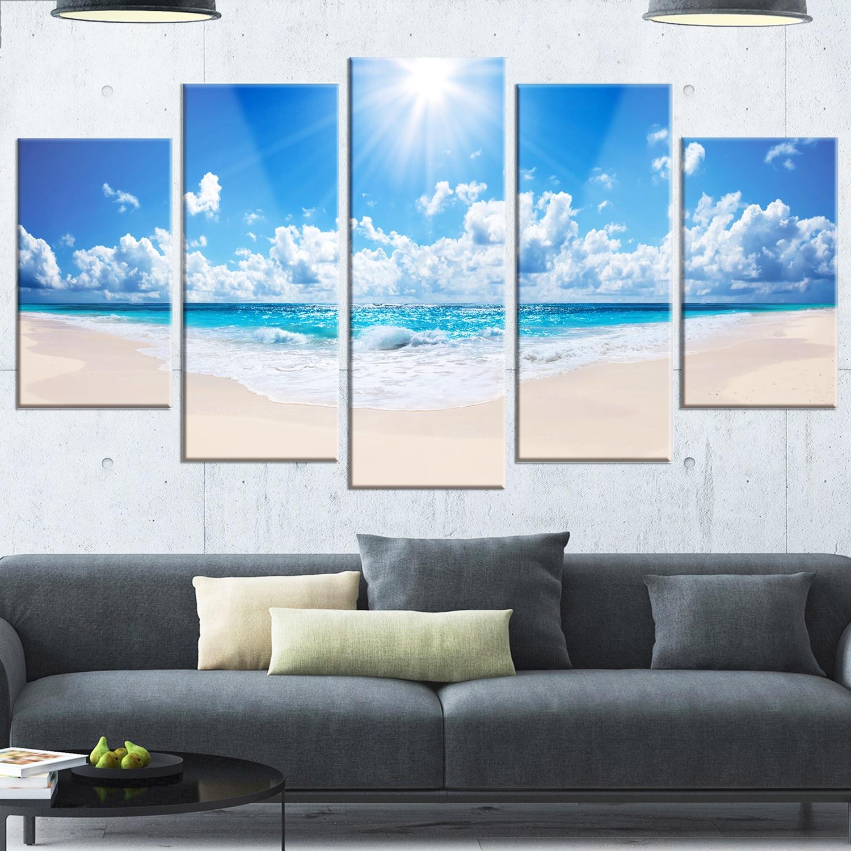 Designart ubeautiful tropical beach panoramau modern seashore glossy