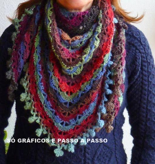 Lenço em Crochê Colorido com Gráfico
