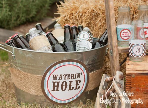 Waterin' Hole at a Cowboy Western Birthday Party via Kara's Party Ideas - www.KarasPartyIdeas.com