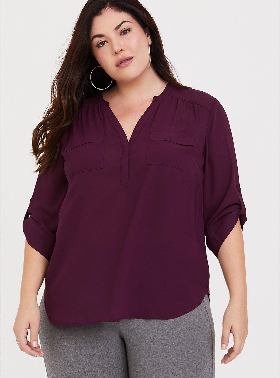 0d3064a54ad Harper - Purple Georgette Pullover Blouse in 2019