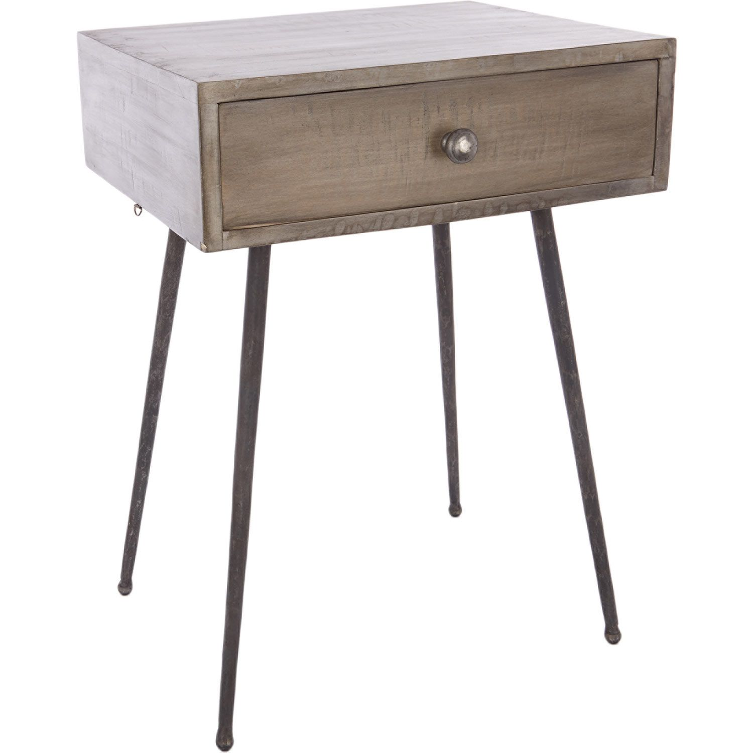 """Passport To India"" Brown Wooden Side Table with Drawer TK Maxx """
