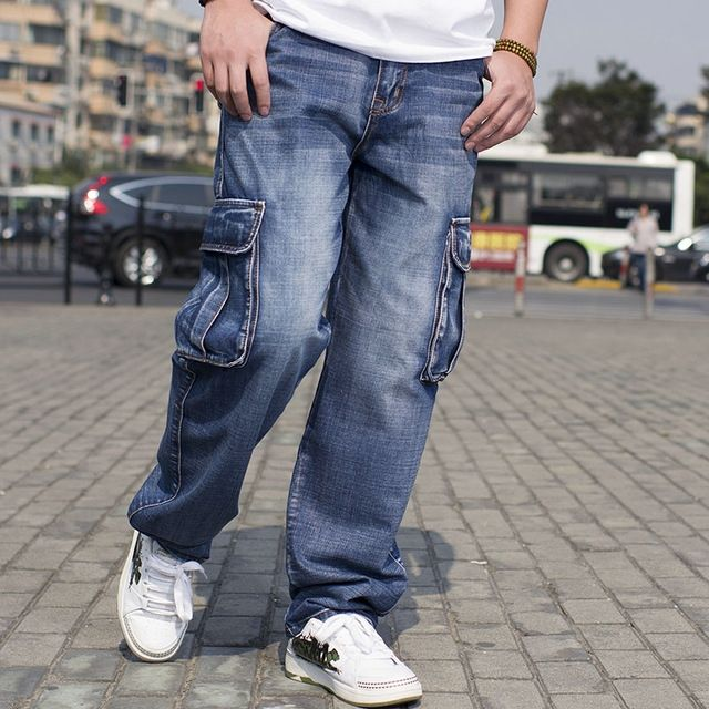 fe263c91196 Big Size Mens Denim Cargo Pants Jeans Men Hip Hop Loose Baggy Jeans With  Side Pockets