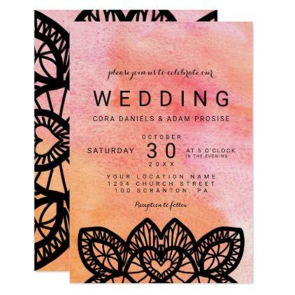 modern watercolor lace hearts wedding card wedding card weddings