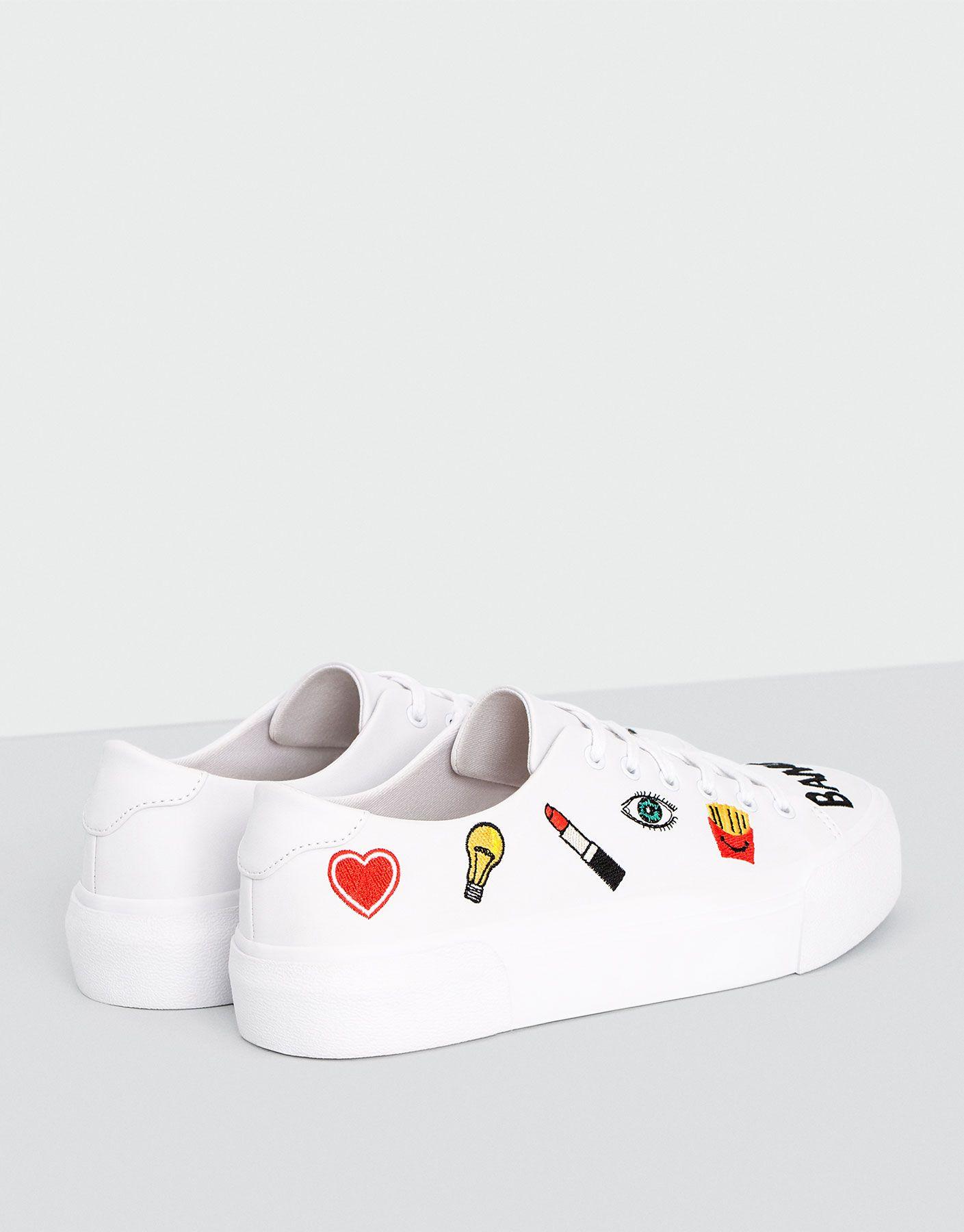Bamba parches blanca Zapatillas Calzado Mujer