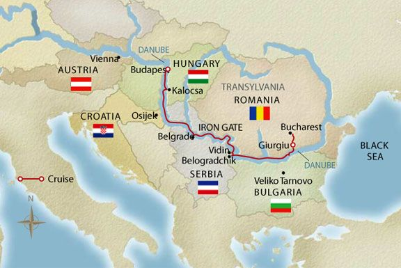 Europe River Cruise - Passage to Eastern Europe map Bucharest to ...