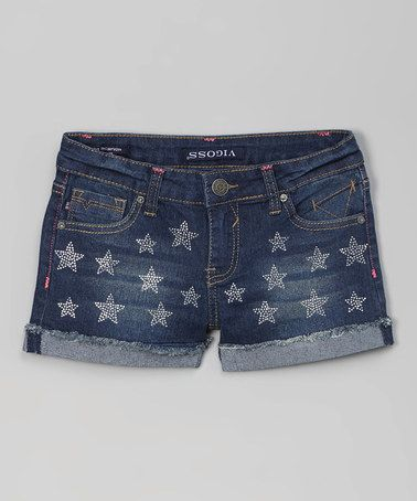 Another great find on #zulily! Morning Glory Cuffed Starry Night Denim Shorts #zulilyfinds