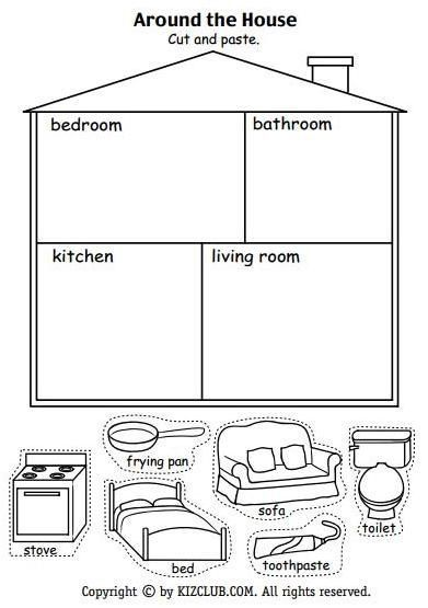 Around The House Worksheet Kids English Preschool Worksheets English Lessons