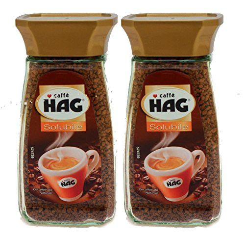 HAG Instant Coffee Naturally Decaffeinated, (2) 100g Glass Jars