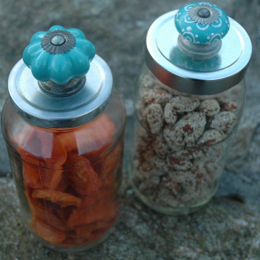 cabinet knob on a pasta sauce jar