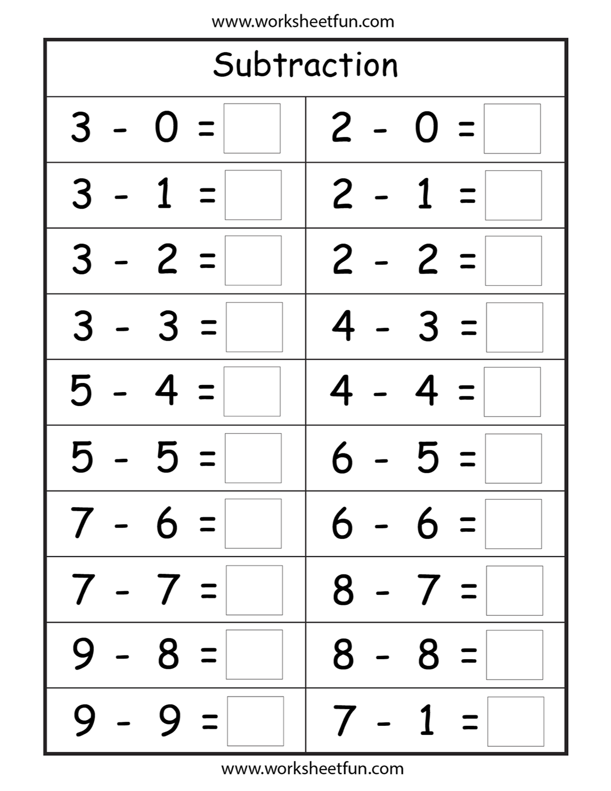 Pin Em Homeschooling Subtraction