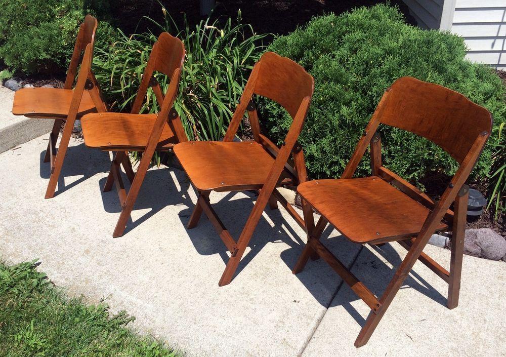 Antique Vintage Norcor Wood Wooden Folding Chair Set