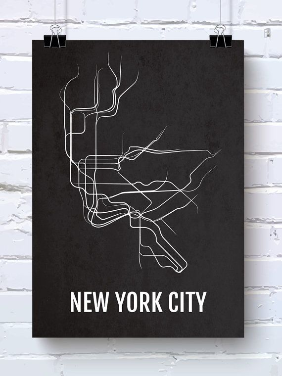 New York City Subway Map Subway Map Art Map Decor New York Etsy