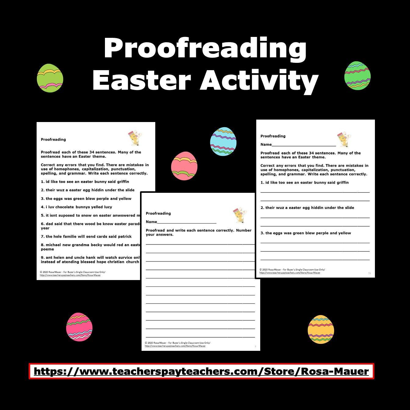 Prooffreading Practice Easter Language Arts Worksheets