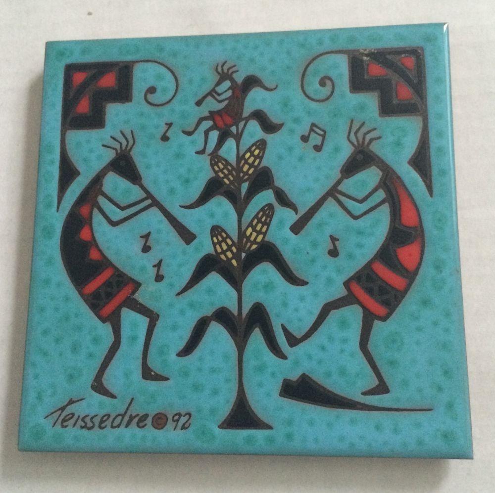 Southwestern decorative ceramic tile trivet kokopelli cleo southwestern decorative ceramic tile trivet kokopelli cleo teissedre folk art dailygadgetfo Images