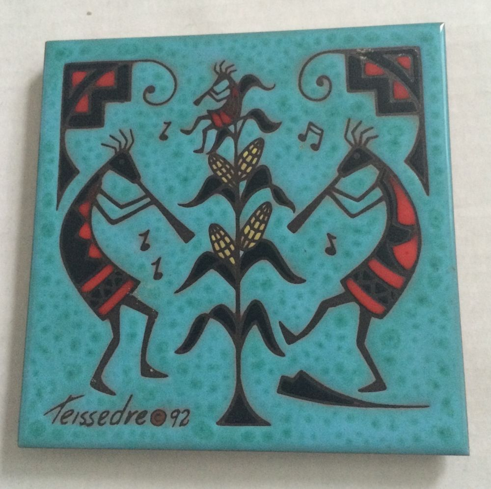 Southwestern decorative ceramic tile trivet kokopelli cleo teissedre southwestern decorative ceramic tile trivet kokopelli cleo teissedre folk art dailygadgetfo Choice Image