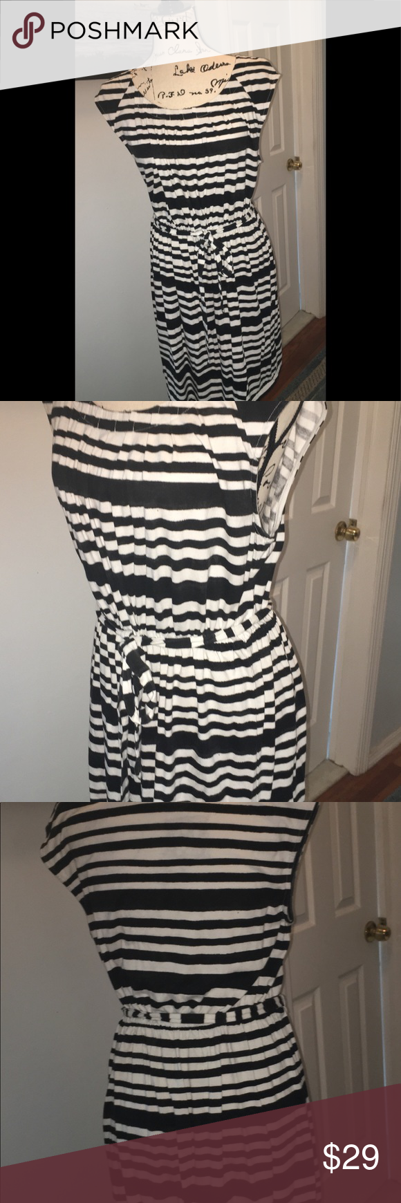 Loft Black And White Striped Dress In 2018 Fashion Style Simpel Elegan Greyish Free Belt Capped Sleeves Soft Pullover Type With Thin This Is Summer Flirty Comfy Fun
