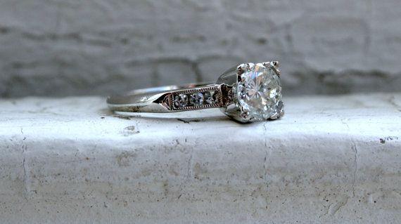 Classic Vintage 14K White Gold Diamond Engagement Ring - 1.14ct.
