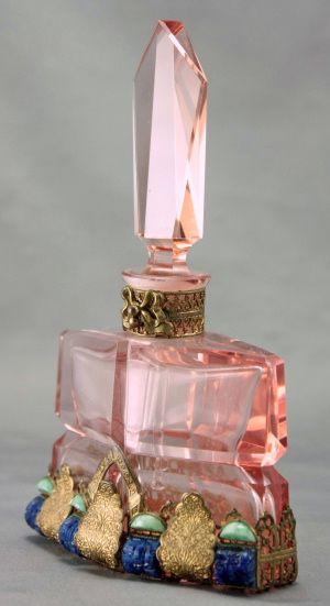 Pink Czech Art Deco Jeweled Perfume Bottle