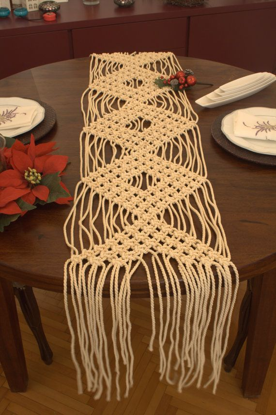Sweetheart table decor macrame runner wedding runner wedding camino de mesa tejida a mano macrame camino de mesa de boda a junglespirit Choice Image