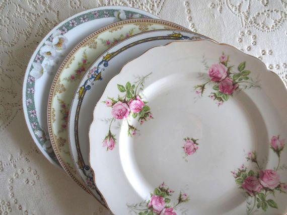 Set of 4 Mismatched Dinner Plates. Floral China Plates. Mix Match Plates. Shabby Chic Dishes. Dinnerware Alice in Wonderland Tea Party & Set of 4 Mismatched Dinner Plates. Floral China Plates. Mix Match ...