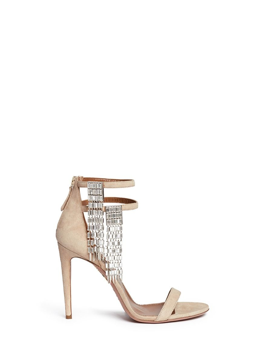 0168a41b9dd Women s Natural  my Desire  Jewelled Fringe Suede Sandals