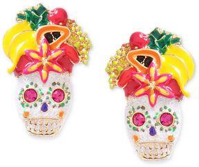 Betsey Johnson Earrings, Gold-Tone Skull and Fruit Stud Earrings