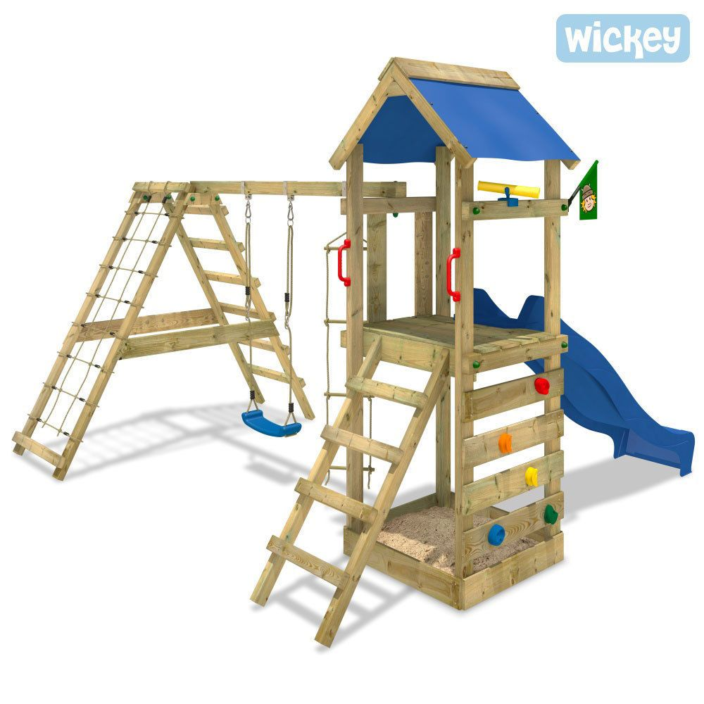 wickey starflyer spielturm kletterturm sandkasten blaue rutsche schaukel garten in spielzeug. Black Bedroom Furniture Sets. Home Design Ideas