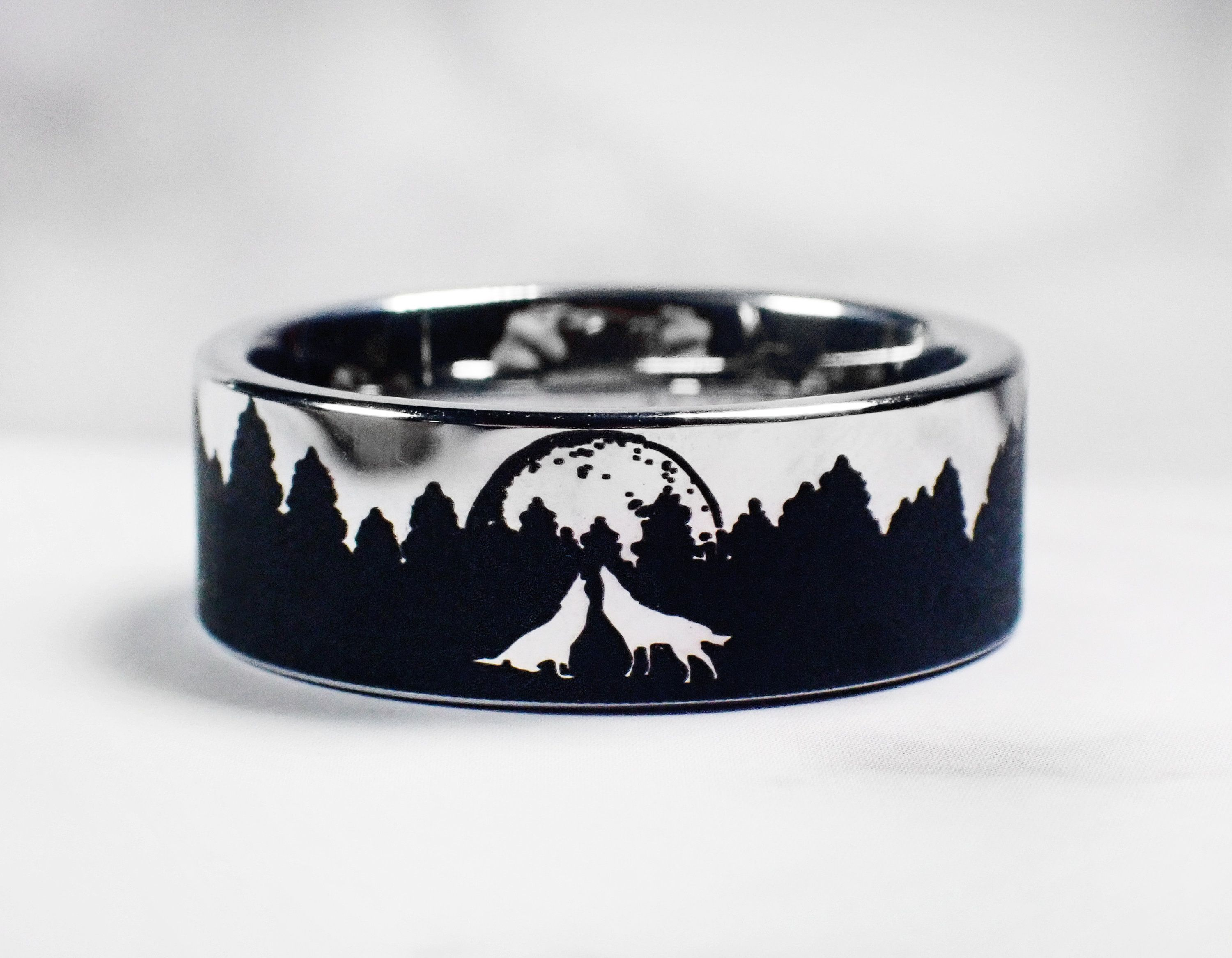 Matching Howling Wolves  Ring Forest Ring Wolf Engagement Ring fo rMen River Ring Mountain Wedding Band Nature Ring