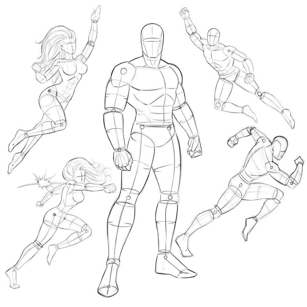 Comic Book Heroes Pose Pack Ram Comic Book Drawing Drawing Poses Superhero Sketches